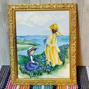 Hand Painted Gold Framed Original Watercolor Art